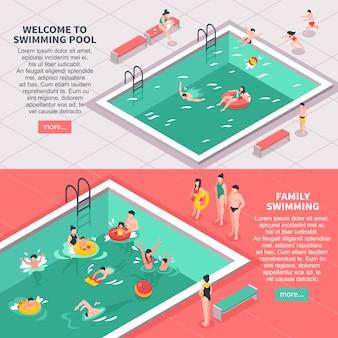 Zwembad horizontale banners set