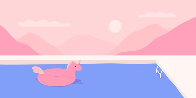 Zwembad met een eenhoorn zwemmen ring op de achtergrond van een roze hemel vectorillustratie