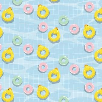 Zwembad met kleurrijk vlotters vector naadloos patroon