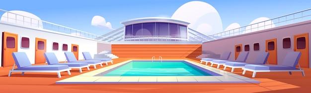 Zwembad op het dek van het cruiseschip.