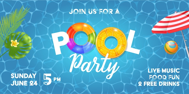 Zwembad partij uitnodiging sjabloon met zwembad oppervlak, palmbladeren, parasol en rubberen bal. realistische opblaasbare regenboog en oranje ringen.