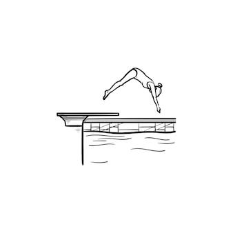 Zwembad vrouwelijke duiken hand getrokken schets doodle pictogram. watersport, zwemwedstrijdconcept