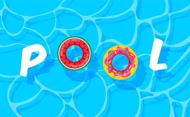 Zwembad zomer met kleurrijke reddingsboeien