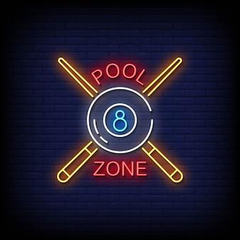 Zwembad zone neonreclames stijl tekst vector