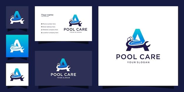 Zwembadonderhoud logo met beginletter a ontwerp