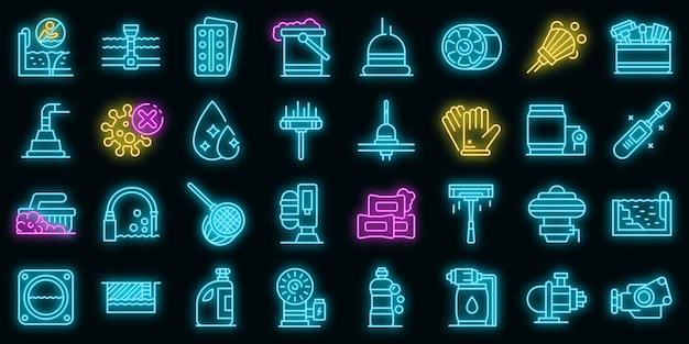 Zwembadreinigingspictogrammen instellen vector neon