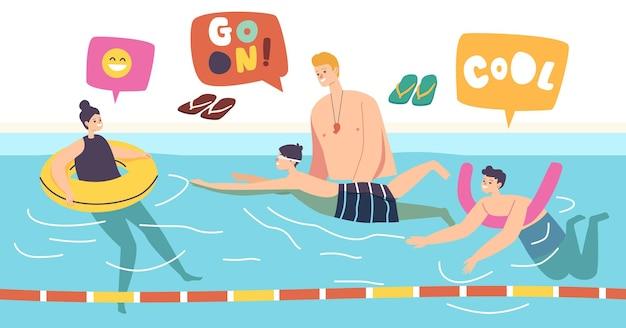 Zwemles, coach lesgeven aan kinderen in het zwembad. meisje en jongens in zwemkleding en bril met trainingshulpmiddelen, leren zwemmen, sportklasse, kinderzwemmers. cartoon mensen vectorillustratie