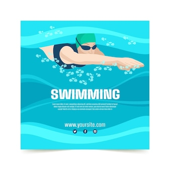 Zwemlessen afdruksjabloon