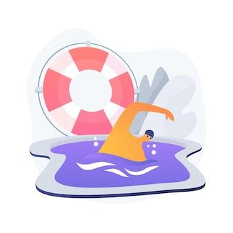 Zwemmen abstract begrip vectorillustratie. watersport, zwembad, zomervakantie, actieve levensstijl, familieplezier, fitnesstraining, freestyle-oefening, abstracte metafoor voor competitie.