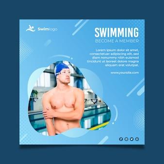 Zwemmen flyer vierkante sjabloon
