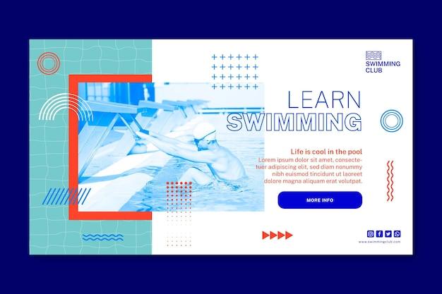 Zwemmen horizontale banner sjabloon