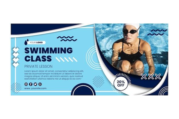 Zwemmen klasse horizontale sjabloon voor spandoek