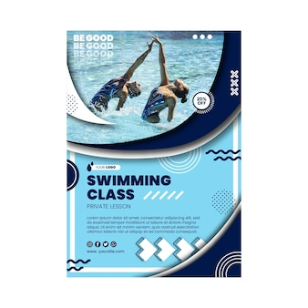 Zwemmen klasse poster sjabloon