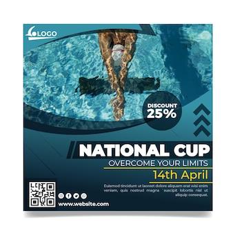 Zwemmen kwadraat flyer-sjabloon