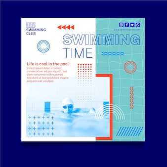 Zwemmen kwadraat folder sjabloon Premium Vector