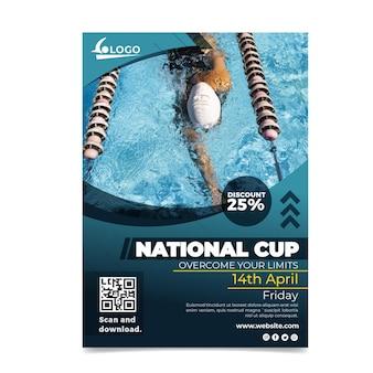 Zwemmen nationale beker poster sjabloon