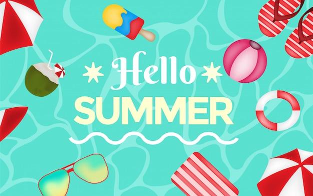 Zwemmen poll boven weergave zomerontwerp