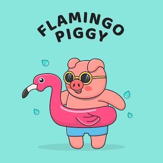 Zwemmende piggy met flamingoring en sunglassea