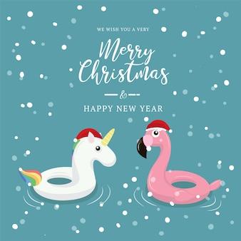 Zwemmende ringseenhoorn en flamingo met kerstmisachtergrond.