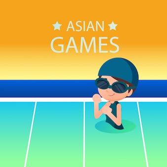 Zwemmende sportillustratie