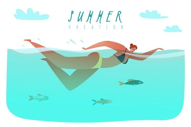 Zwemmer strand zomer illustratie. een vrouw zwemt in de zee tussen de vissen.