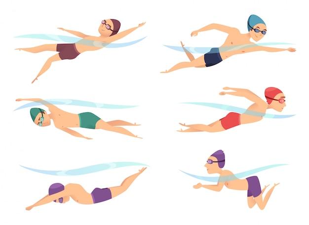 Zwemmers in verschillende poses. sport stripfiguren in poll actie vormt