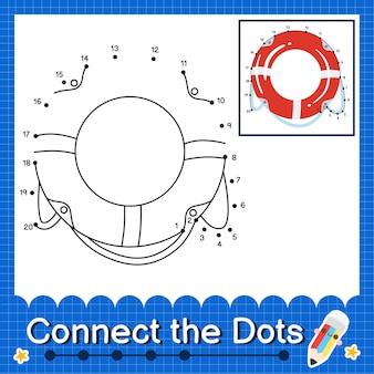 Zwemring kids verbind de stippen werkblad voor kinderen die nummer 1 tot en met 20 tellen