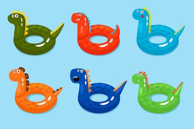 Zwemring van dinosaurussen. lachende dinosaurus zwembad objecten, grappige kinderen reddingsboeien geïsoleerd op water achtergrond, vector illustratie