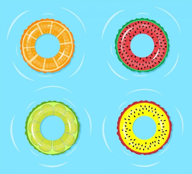 Zwemring. zomertijd ontspannen, zwembad of blauw zeewater op ring van de manier de drijvende buis met fruitwatermeloen, sinaasappel, de illustratie van kalkdrukken