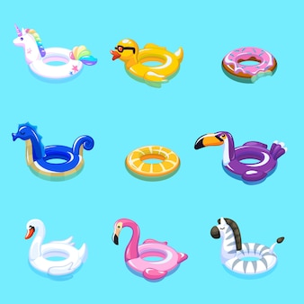 Zwemspeelgoed. zwemmen zomer water zwembad opblaasbaar speelgoed dier drijven strand zee ringen drijvende redding marine cartoon set