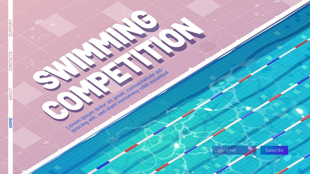 Zwemwedstrijd cartoon bestemmingspagina