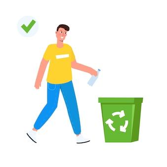 Zwerfgedrag, correcte voorbeelden van afval weggooien. vector illustratie.