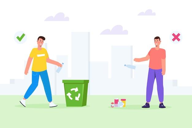 Zwerfgedrag, foute en juiste voorbeelden van afval weggooien. vector illustratie.