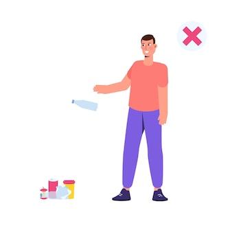 Zwerfgedrag, verkeerde voorbeelden van afval weggooien. vector illustratie.
