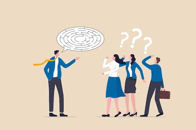 Zwerftocht, verwarde uitleg of slechte communicatievaardigheid, verwarringsdialoogprobleem, onduidelijk berichtconcept, chaos zakenman baas legt verwarde labyrint doolhof tekstballon uit aan teamleden.