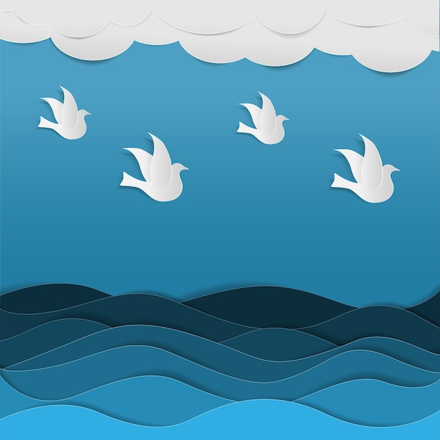 Zwermen vogels vliegen in de lucht vlieg door de blauwe zee in papieren kunststijl