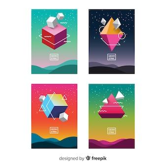 Zwevend pakket met geometrische vormen