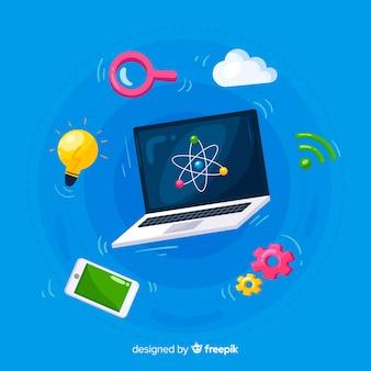 Zwevende laptop omringd door elementen