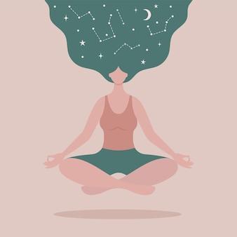 Zwevende vrouw die yoga beoefent in lotushouding