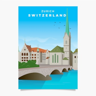 Zwitserland promotionele folder sjabloon