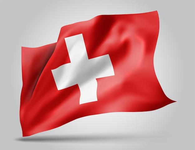 Zwitserland, vector vlag met golven en bochten zwaaien in de wind op een witte achtergrond.