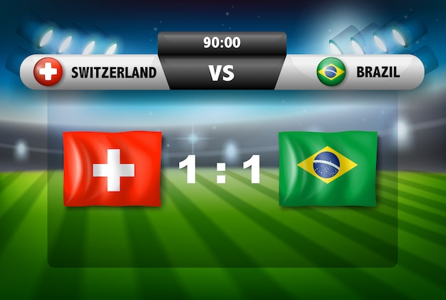Zwitserland vs brazilië voetbalwedstrijd