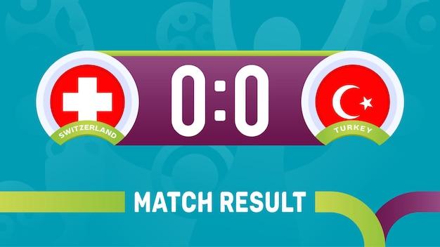 Zwitserland vs turkije wedstrijdresultaat, europees voetbalkampioenschap 2020 illustratie.