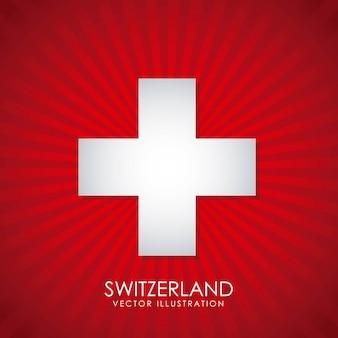 Zwitsers ontwerp over rode vectorillustratie als achtergrond