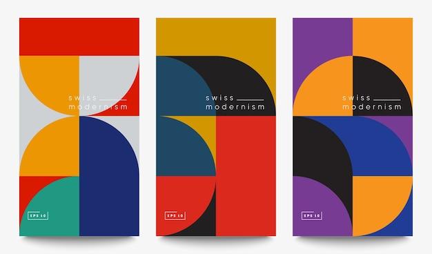 Zwitserse modernisme banners instellen. eenvoudige geometrische vormen en vormen.