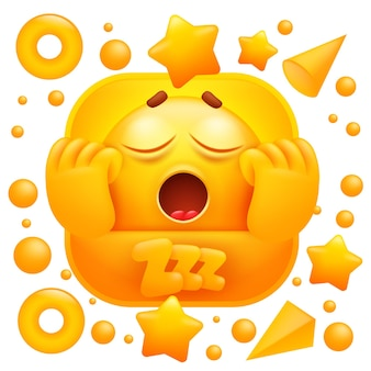Zzz web sticker. gele emoji gapende slaperig karakter.